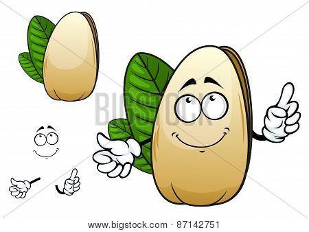 Smiling open pistachio nut cartoon character