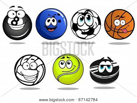 Balls and puck mascots cartoon characters