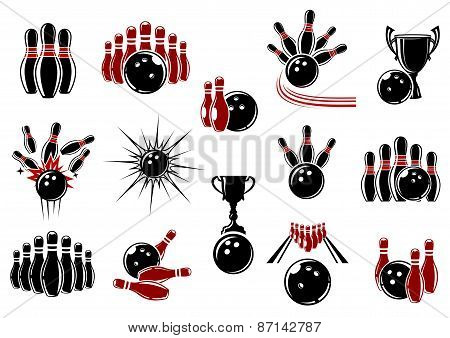Bowling symbols with equipment and comics elements