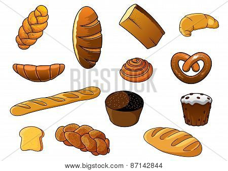 Cartoon different kinds of bread and pastries