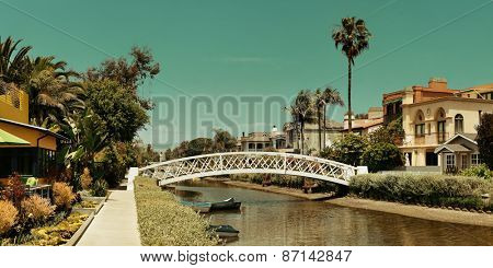 Venice Canals Walkway in Los Angeles, California.
