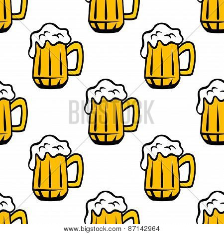 Beer tankards or mugs seamless pattern