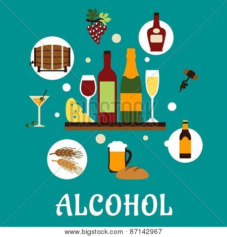 Flat alcohol drinks with snacks