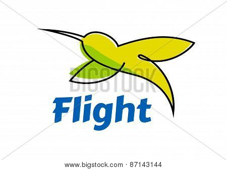 Logo or emblem with abstract hummingbird in flight