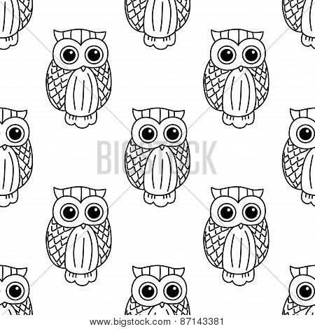Vintage cute black owls seamless pattern