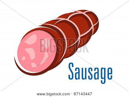Cartooned smoked sausage isolated on white