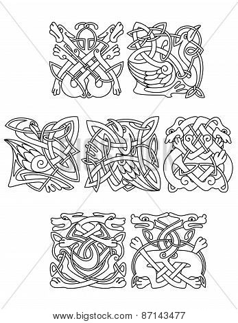 Celtic animals and birds with tribal ornament