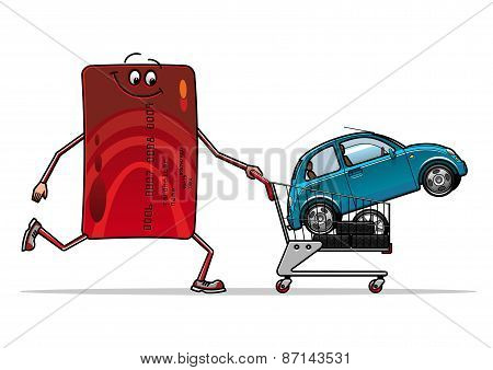 Credit card with new car in trolley