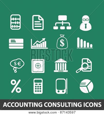 accounting, consulting services isolated icons, signs, illustrations concept website internet design set, vector