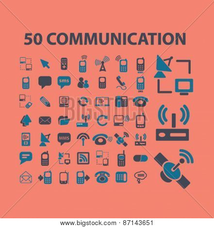 50 communication, connection, technology isolated icons, signs, illustrations concept website internet design set, vector