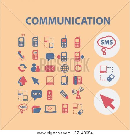 communication, connection icons, signs, illustrations design concept set. vector