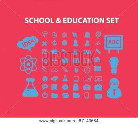 school, education, learning isolated icons, signs, illustrations concept website internet design set, vector