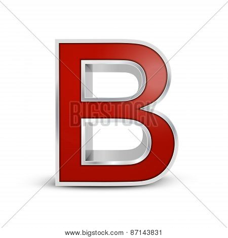 3D Red Metallic Letter B