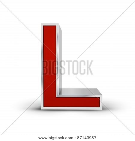 3D Red Metallic Letter L