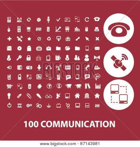 100 communication, connection isolated icons, signs, illustrations concept website internet design set, vector