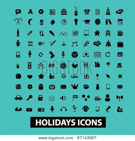 holidays, event, celebration isolated icons, signs, illustrations concept website internet design set, vector