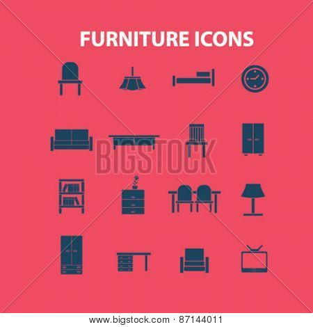 furniture, interior isolated icons, signs, illustrations concept website internet design set, vector