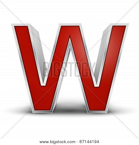 3D Red Metallic Letter W