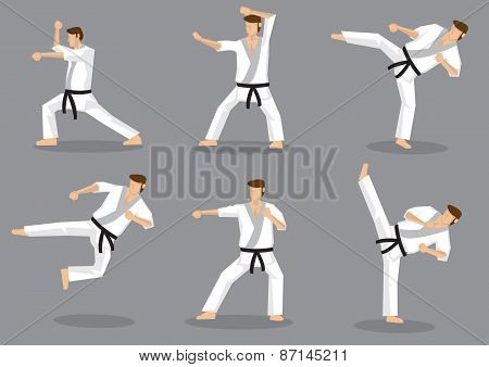 Karate Taekwondo Kicks And Punches Vector Icon Set
