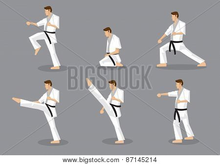 Karate Taekwondo Martial Arts Vector Icon Set