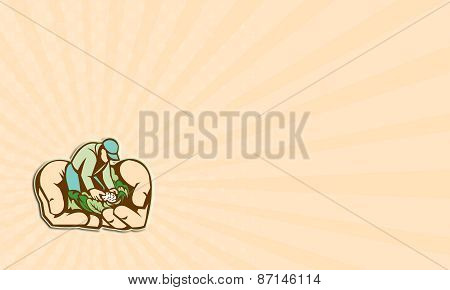 Business Card Hands Holding Organic Farmer Produce Retro