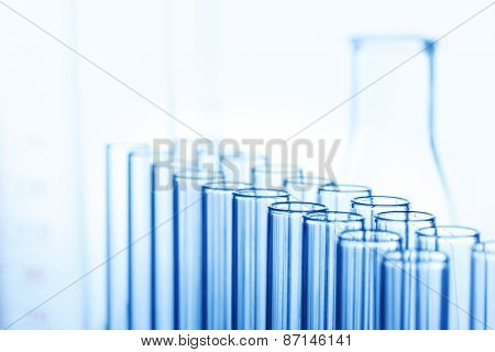 Test tubes of glass in laboratory close-up