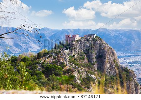 View of the Utvegio castle on Pellegrino mount in Palermo,  Sicily, Italy.