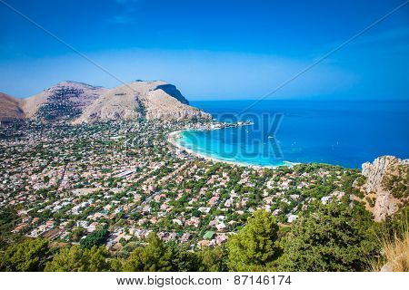 Panoramic view on Mondello white sand beach in Palermo, Sicily. Italy.
