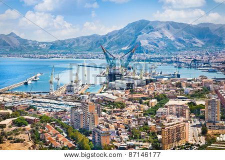 Beautiful panoramic view on shipyard of Palermo, Sicily, Italy.