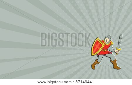 Business Card Medieval Knight Shield Sword Standing Cartoon