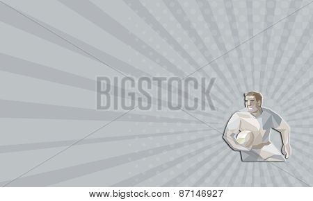 Business Card Rugby Player Running Low Polygon
