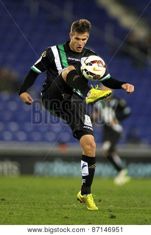 BARCELONA - FEB, 27: Bruno Zuculini of Cordoba CF during a Spanish League match against RCD Espanyol at the Estadi Cornella on February 27, 2015 in Barcelona, Spain
