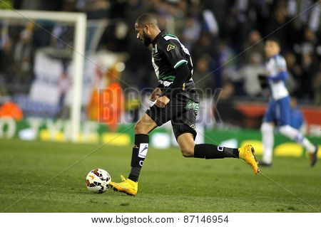 BARCELONA - FEB, 27: Tiago Manuel Dias of Cordoba CF during a Spanish League match against RCD Espanyol at the Estadi Cornella on February 27, 2015 in Barcelona, Spain