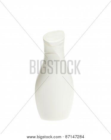 White Lotion Bottle Isolated On White