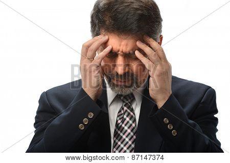 Hispanic businessman under stress isolated over white background
