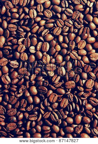 Coffee Beans Background With Instagram Style Filter