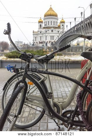 Two Old Bycicles Parked Near The Cathedral Of Christ The Saviour, Moscow, Russia