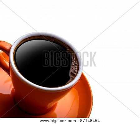 Cup of black coffe isolated on white.