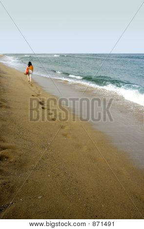 woman and beach