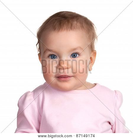 Image Of Cute Baby Girl, Closeup Portrait