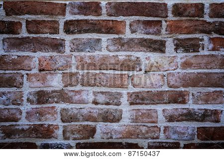 Ancient Old Red Brick Wall Fragment With Vignetted Corners Background, Texture