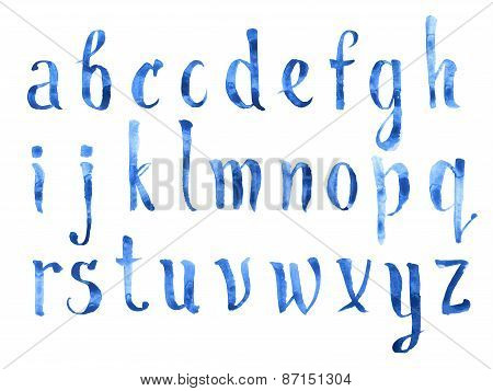 Hand drawn watercolour aquarelle Painted doodle letters handwritten with a brush blue watercolor alp
