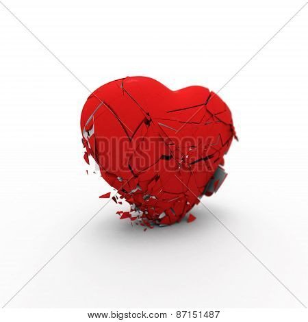 Abstract Heart Collapses Under Its Own Weight 3D Rendering