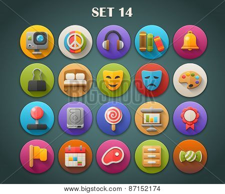 Round Bright Icons with Long Shadow Set 14