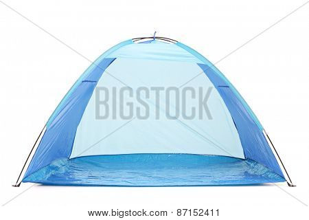 Frontal studio shot of a blue tent isolated on white background