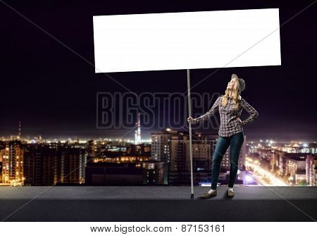 Teenager girl with banner