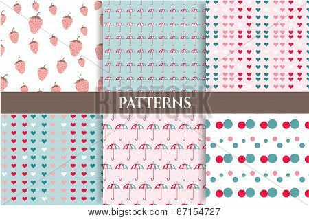 Set, collection of six romantic, blue, pink, seamless patterns with strawberries, dots, hearts, umbr