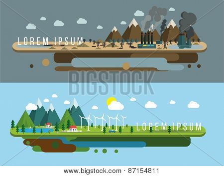 Ecology of city technology and environment conception, illustration flat design