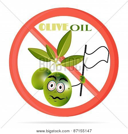 Funny illustration of prohibited, sign with green olives with leaves, face. Olive waving with white