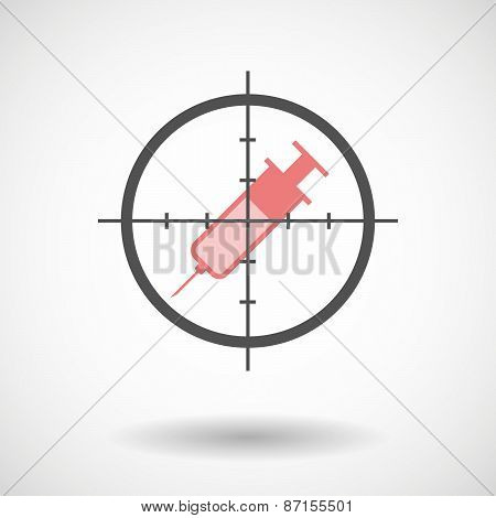 Crosshair Icon With A Syringe